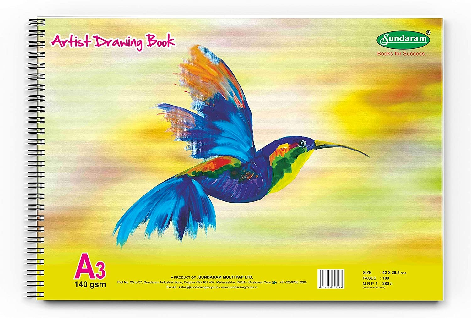 Sundaram D-12 Artist Drawing Book - A3-100 Pages - Pack of 1 Pcs Design As per Availability