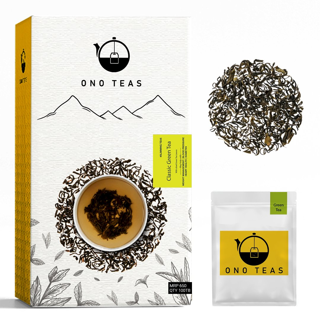 Ono Teas Green Tea (100 Teabags  100% Natural ) with Green Tea Leaves   May help with Heart Health, Weight Management, Sugar, Immunity