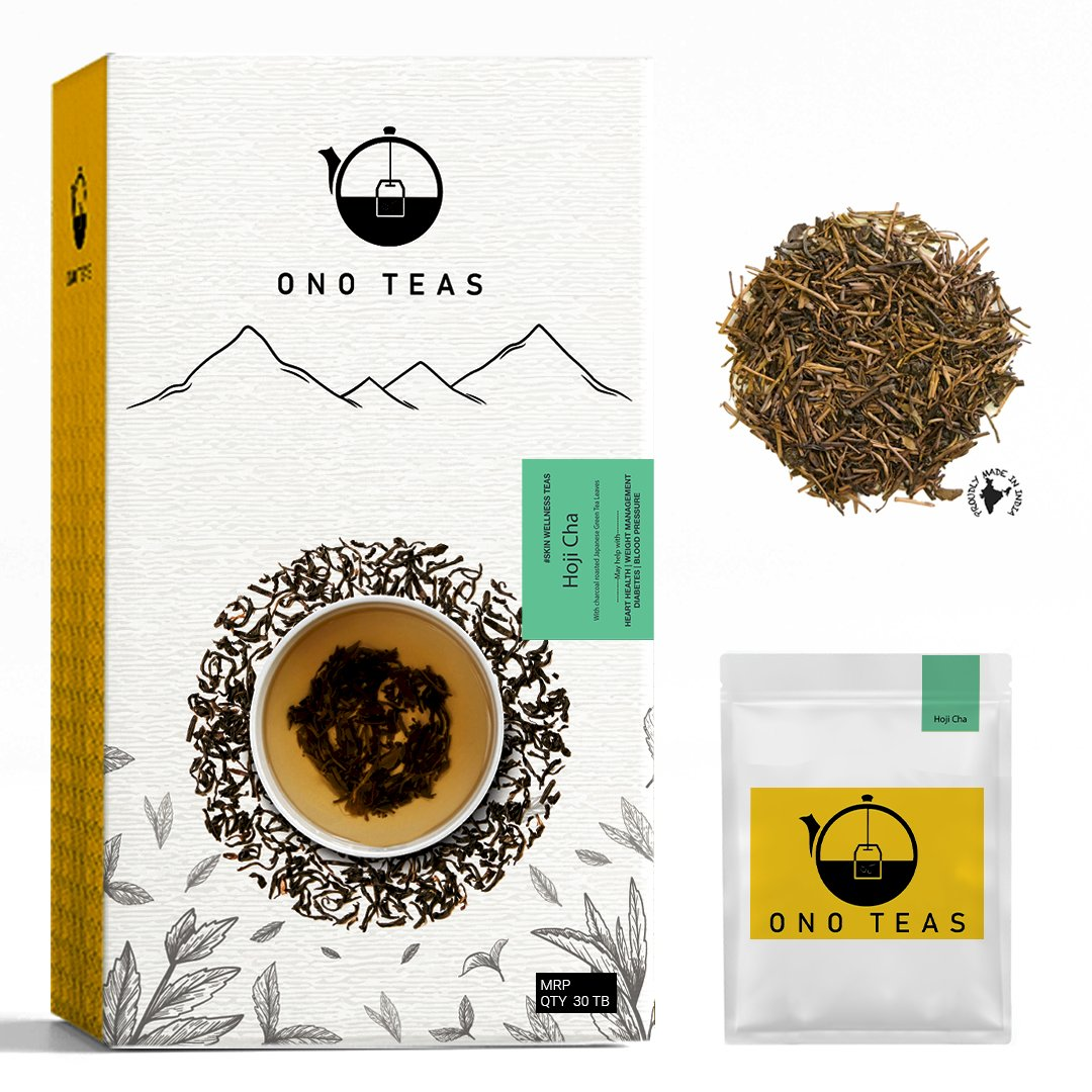 Ono Teas Hoji Cha (30 Days Pack | 30 TeaBags) with Darjeeling Black Tea Twigs I May help with Weight Management.