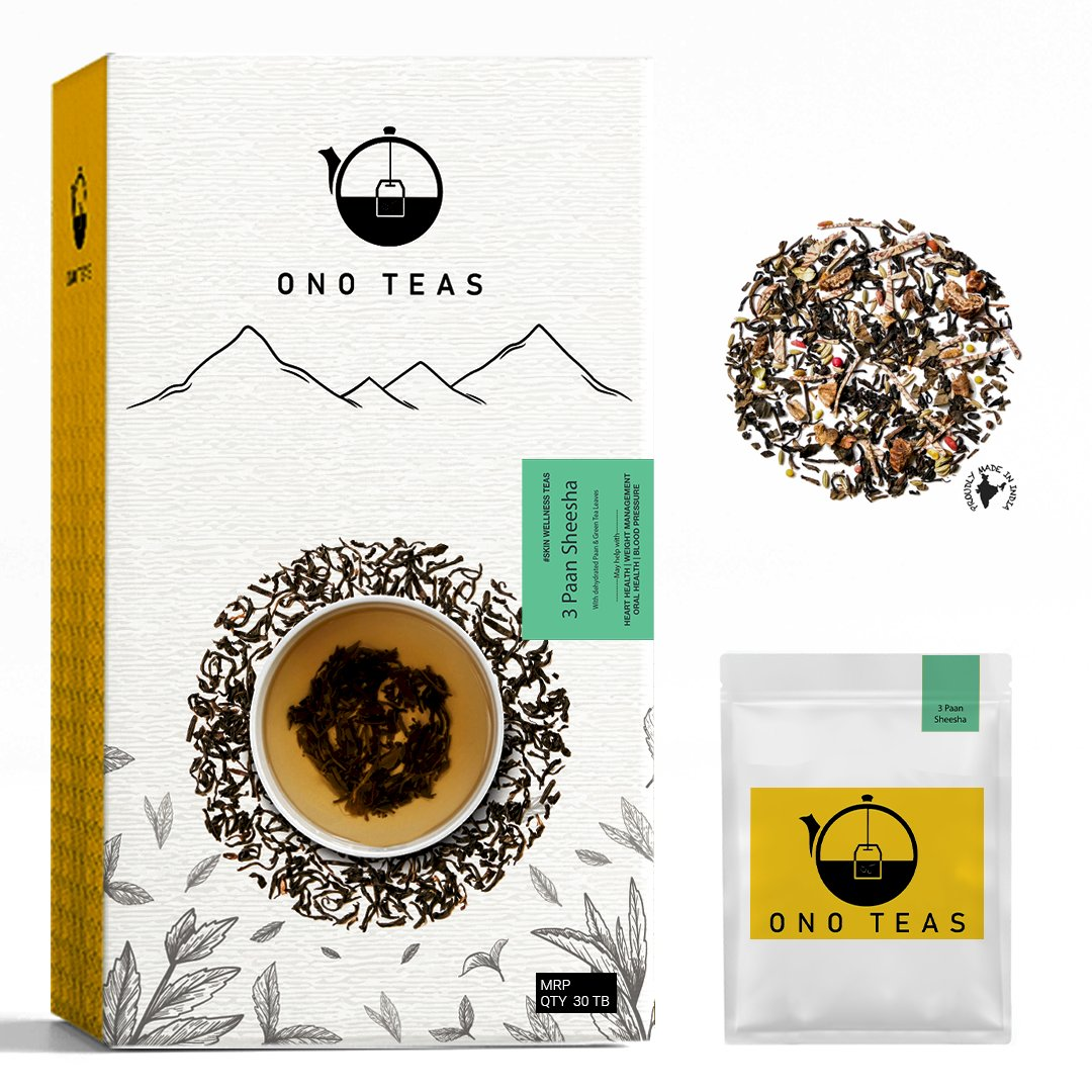 Ono Teas 3 Paan Sheesha (30 Days Pack | 30 TeaBags) with Darjeeling Black Tea Leaves, Paan Leaves, Fennel Seeds and Beetle Nut pieces I May help with Weight Management