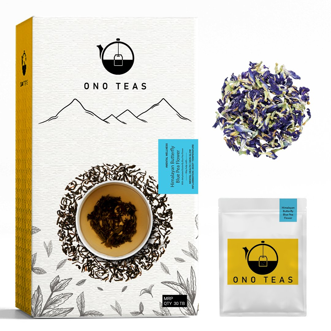 Ono Teas Butterfly Blue Pea Flower Tisane Herbal Tea(30 Days Pack | 30 TeaBags) With Blue pea flowers. May help with Mental Health, Skin Glow and Inflammation