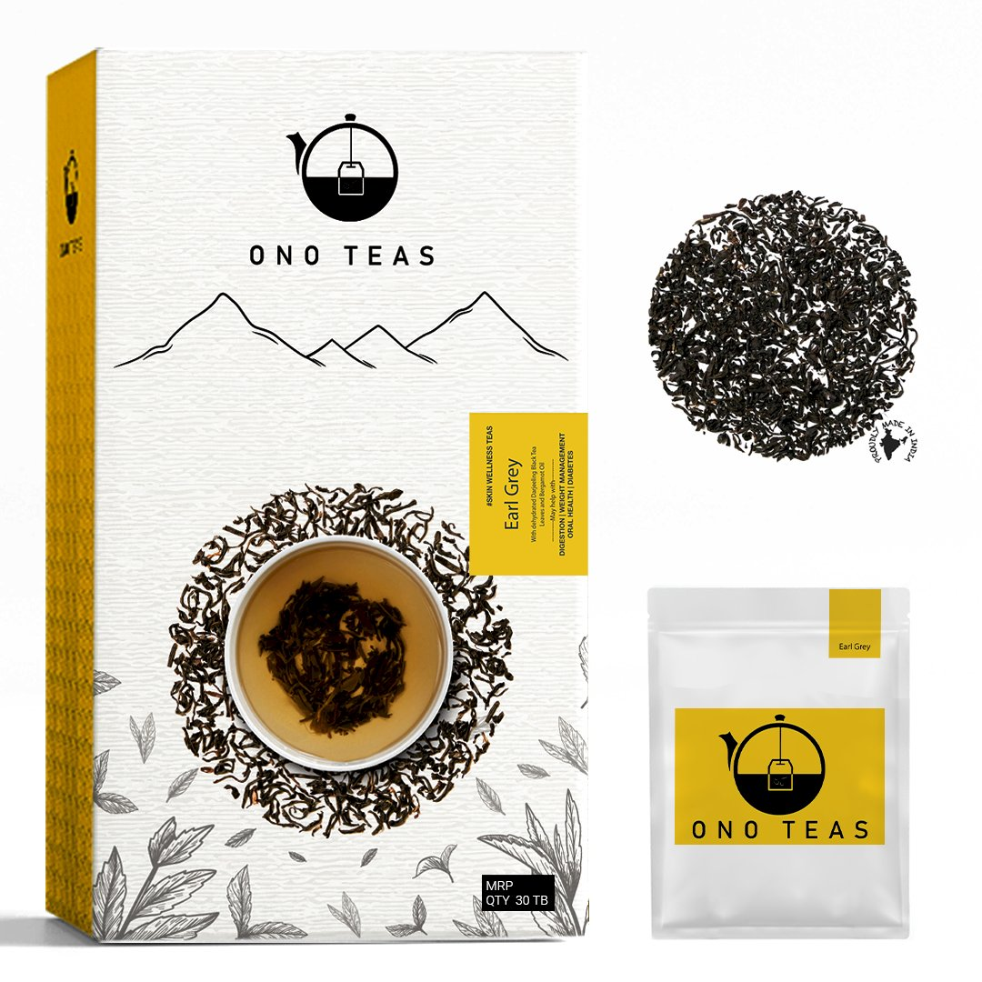 Ono Teas Earl Grey (30 Days Pack   30 TeaBags) with Darjeeling Black Tea Leaves I May help with Digestion, Weight Management, Oral Health.