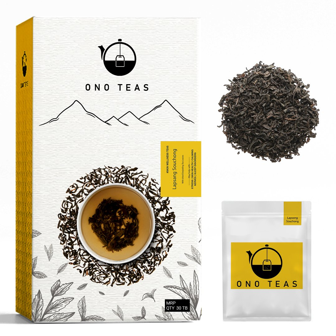 Ono Teas Lapsang Souchong (30 Days Pack   30 TeaBags) with Roasted Darjeeling Black Tea Leaves I May help with Stress & Skin Health.