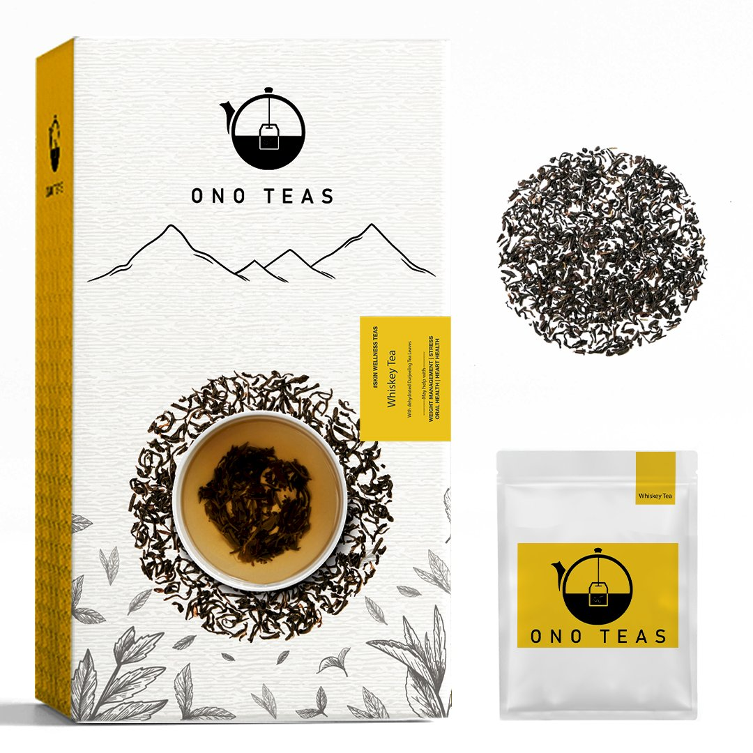 Ono Teas Whiskey Tea (30 Days Pack | 30 TeaBags) with Roasted Darjeeling Black Tea Leaves I May help with Weight Management, Stress & Oral Health