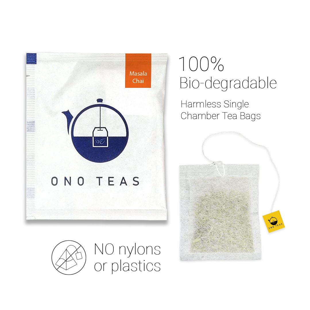 Ono Teas Masala Chai (100 Teabags   100% Natural) with Black Tea   May Help with Heart Health, Improves Immunity