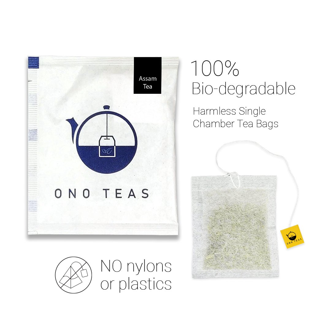Ono Teas Assam Black Tea (100 Teabags  100% Natural) with Assam Black Tea Leaves   May help with Digestion, Mental Health, Strengthen Joints.