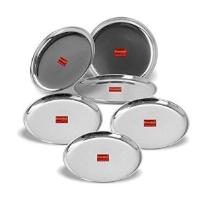 Eversteel Stainless Steel Heavy Gauge Dinner Plates with Mirror Finish 22cm Dia - (Set of 6 pcs)
