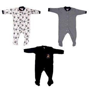 Mini Berry Cotton Baby Boy Rompers in Black Color -Combo of 3Pcs