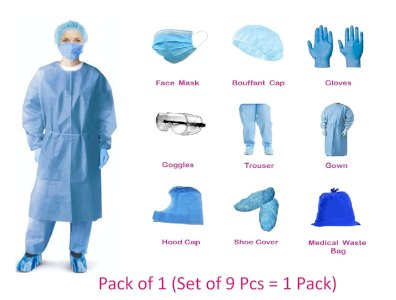 Hindustan Mart  PPE KIT with full body cover all (60 GSM) , Head cover , Gloves , safety Goggles, 3 Ply face mask, , Shoes cover,  (1 Items in the set)  Protective Suit Medical Coverall Chemical Hazmat Isolation Protective Clothing Suit (9 IN 1)