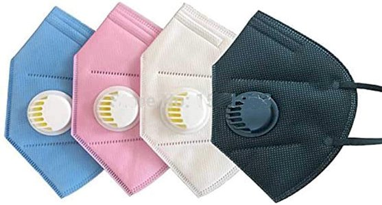 Unisex Assorted Multi Colors Respirator Face Mask FFP2 with Exhalation Breather Valve (Pack of 5)