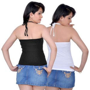 Letizia Women's Cotton Halter Neck Camisole Pack of 2 (Black & White)