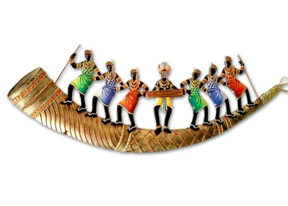 7 People Indian Tribal Dancing Trumpet Wall Hanging
