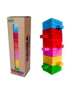 Best Deals 54 Pcs 1 Dice Challenging Color Wooden Blocks Tumbling Stacking Zenga Game for Adults and Kids.
