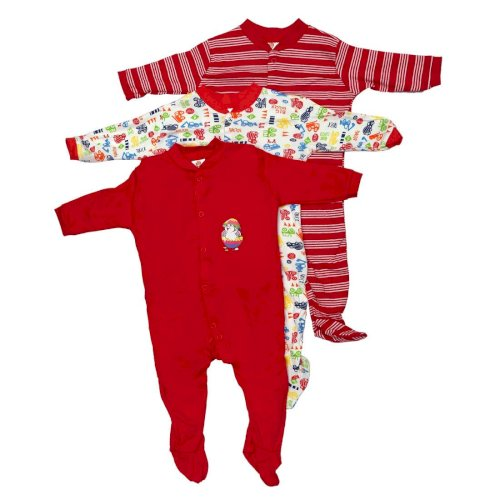 AM Impex Baby's Mini Berry Long Sleeve Cotton Sleep Suit Romper (Red, 0-3 Months) - Set of 3