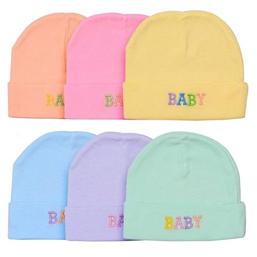 Baby Girl's and Boy's Soft Cotton Printed Caps (Multicolored, 0-6 Months) - Pack of 4
