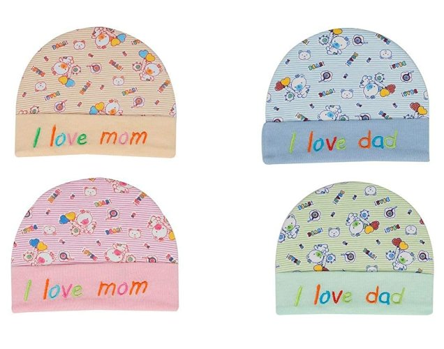 Am Impex Baby Girl's and Boy's Soft Cotton Printed Caps (Multicolored, 0-6 Months) - Pack of 4