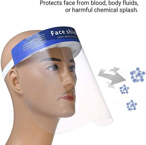 Hindustan Mart Safety Reusable Antifog Full Face Shield Universal Face Protective Visor For Eye Head Protection Anti Spitting Splash FacialCover In Transparent With Adjustable Elastic Strap For Men & Women (Pack of 5 )