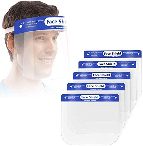 Hindustan Mart Safety Reusable Antifog Full Face Shield Universal Face Protective Visor For Eye Head Protection Anti Spitting Splash FacialCover In Transparent With Adjustable Elastic Strap For Men & Women (Pack of 20 )