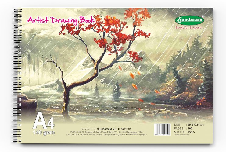Sundaram D-11 Artist Drawing Book - A4-100 Pages - Pack of 12 Pcs
