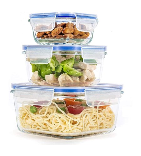 Borosilicate Square Glass Containers with Air Tight Plastic Locking Lid PYGCASJ
