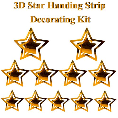 Best Deals 3D Hanging Golden Stars Paper Garland Kit (Pack of 11) for Party, Happy Birthday, Anniversary, New Year Events, Home, Banquet Hall Events and Occasion Decorations
